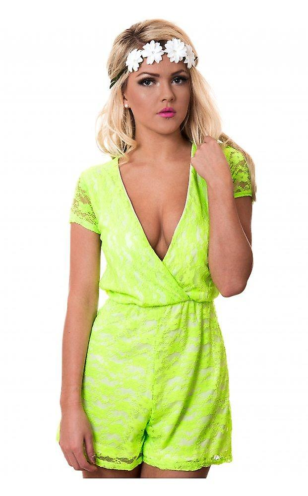 Neon Lime Lace Playsuit
