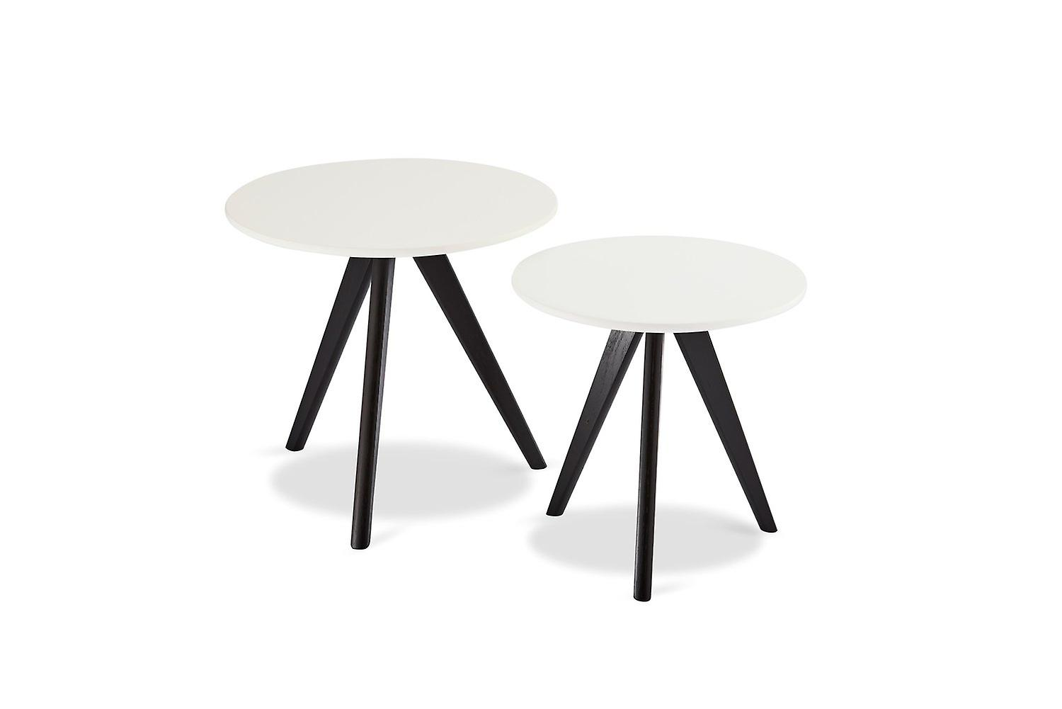 Furnhouse Life Coffee Table, White Top, Black Wooden Legs, 40x40x40 cm