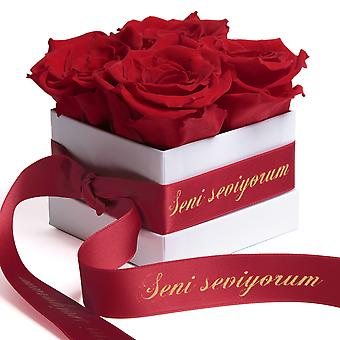 Flowers Box White Preserved Roses Durable 3 Years Red Seni Seviyorum Gift