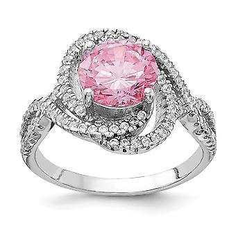 Cheryl M 925 Sterling Silver Pink and White CZ Cubic Zirconia Simulated Diamond Ring Jewelry Gifts for Women - Ring Size