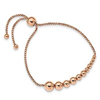 925 Sterling Silver Polished Rose 14k Gold Plated Adj Bracelet Jewelry Gifts for Women - 6.4 Grams