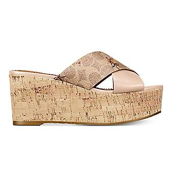 Coach Womens Cross Band Leather Open Toe Special Occasion Slingback Sandals