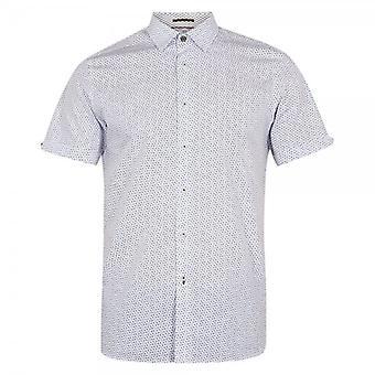 Ted Baker Rakoon SS Rectangle Geo Print Shirt White Blue