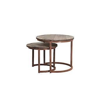 Light & Living Coffee Table Set Of 2 43x35 And 53x45cm Cuzco Wood And Copper