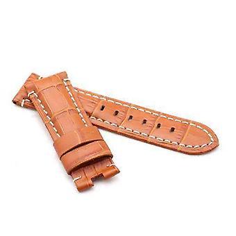Crocodile grain calf leather watch strap tan  premium strap for 22mm to 24mm