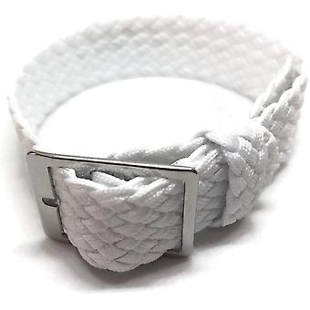 Mesh fabric watch strap white 20mm with polished stainless steel buckle