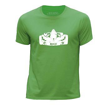 STUFF4 Boy's Round Neck T-shirt/Stencil Car Art / Mono /Green