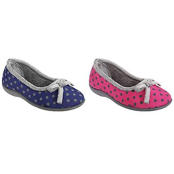 Sleepers Womens/Ladies Louise Polka Dot Bow Slippers