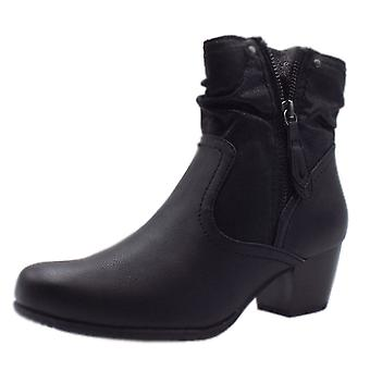 Jana Soft Line 25370 Campbell Stylish Wide Fit Smart Boot In Black Mix