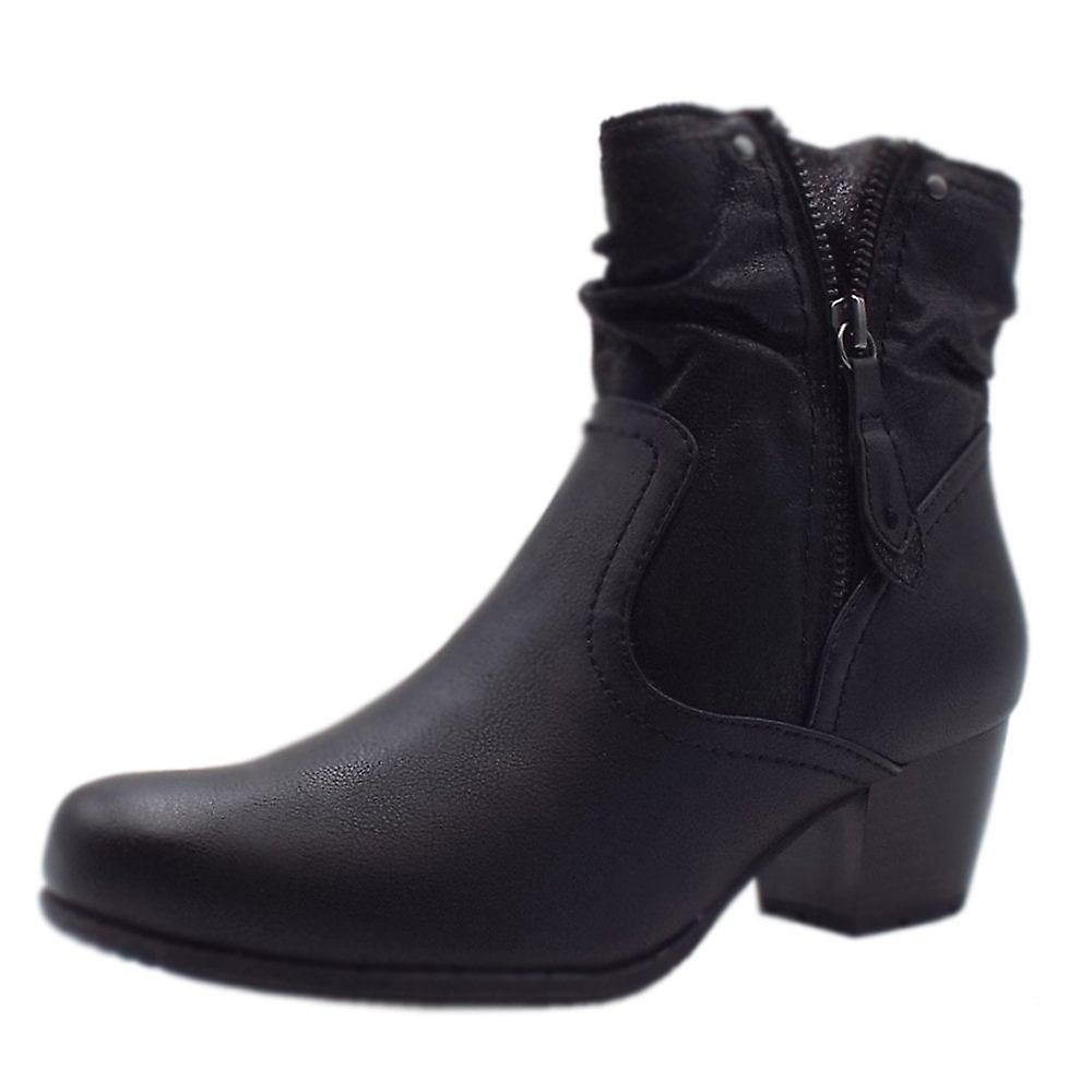 Jana Soft Line 25370 Campbell Stylish Wide Fit Smart Boot In Black Mix BIDnf