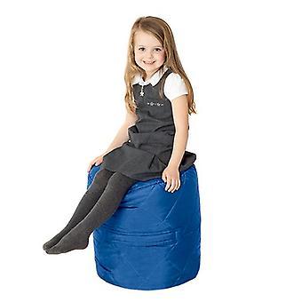Fun!ture Gewatteerde Ronde Kids Bean Bag | Outdoor Indoor Woonkamer Childrens Cylinder Beanbag Zitplaatsen | Waterbestendig | Levendige Play Kids Kleurenstoel | Hoge kwaliteit en comfortabel (blauw)