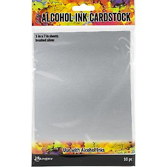 Tim Holtz Alcohol Ink Cardstock 5-quot;X7-quot; 10/Pkg - Brosed Silver
