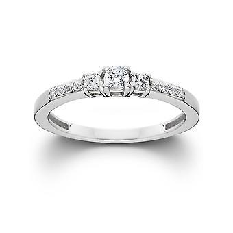 1 / 2ct drei Stein Runde Diamant Verlobungsring 14K White Gold
