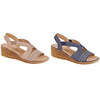 Boulevard Womens/Ladies Leather Elasticate Wedge Sandal