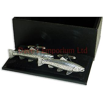 Brown Trout Cufflinks Fine English Pewter - Gift Boxed - Fishing Fish