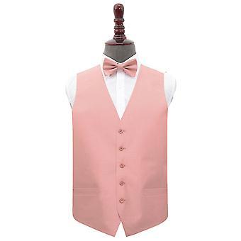 Peach Pink Plain Shantung Wedding Waistcoat et; Ensemble bow Tie