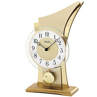 AMS 1137 Table clock Quartz with pendulum golden modern curved with glass