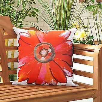 Gardenista Garden Outdoor Scatter Tyyny | Patio Rottinki Tuolit Vaahto täynnä huonekalut Pattern Tyyny | Vedenkestävä | Hypoallergeeninen vaahto murusia täytetty (daisy punainen)