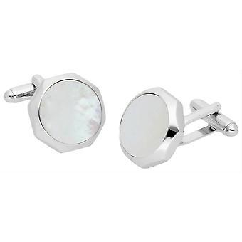 Duncan Walton Castigoni Mother of Pearl Cufflinks - Silver/White