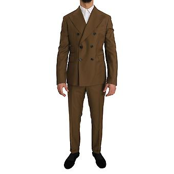 Dolce & Gabbana Brown Wool Double Breasted Slim Fit Suit -- JKT1872816
