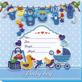 Abris Art Bead Embroidery Kit With Thread - Birth Sampler For A Boy