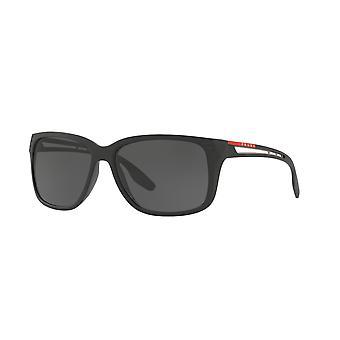 Prada Sport Linea Rossa SPS03T 1BO/5S0 Matowe czarne/szare okulary przeciwsłoneczne