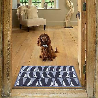 Pedro Penguin Scion Doormats In Frost Blue By Turtlemat