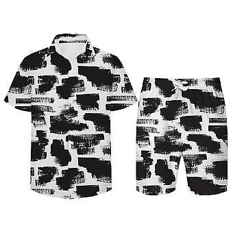 Allthemen Men's 3D Black White 2-Pcs Shirt&Shorts