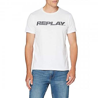 Replay Reflecterend logo Crew Neck T-shirt Wit M3142