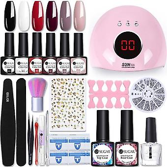 Gel Nail Polish Set With Uv Led Nail Dryer Lamp - Complete Nail Art Kit