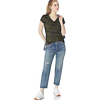 Marque - Daily Ritual Women's Lightweight Lived-in Cotton Pocket V-Neck...