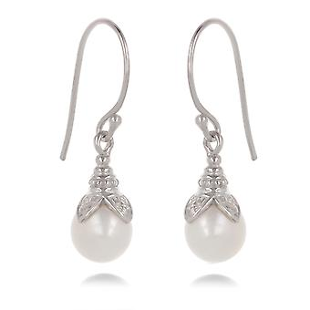 ADEN 925 Sterling Silver White Pearl Earrings (id 4399)