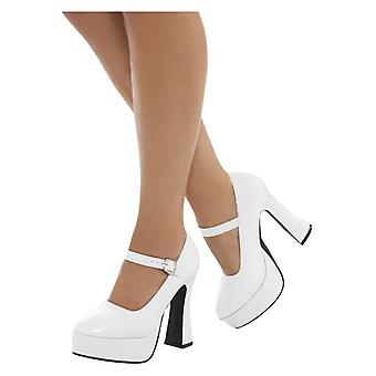 Womens Ladies 70s White Platform Shoes Fancy Dress Accessory
