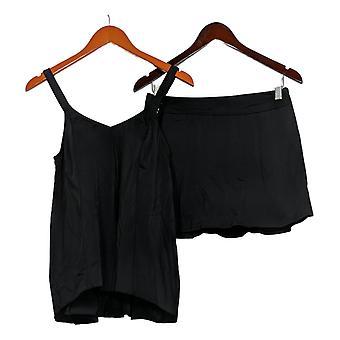 Denim & Co. Swimsuit Beach Hi- Low Tankini Swimsuit w/ Skirt Black A345640