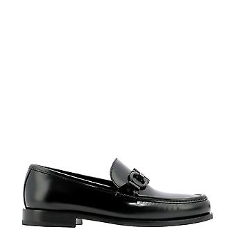 Salvatore Ferragamo 0732384 Men's Black Leather Loafers