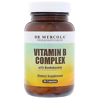 Dr. Mercola, B-vitaminkomplex med Benfotiamine, 60 kapslar