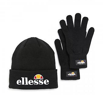 Ellesse Black Velly Beanie Hat & Bubb Gloves Set