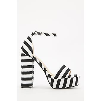 Striped Ankle Strap Platform Sandals