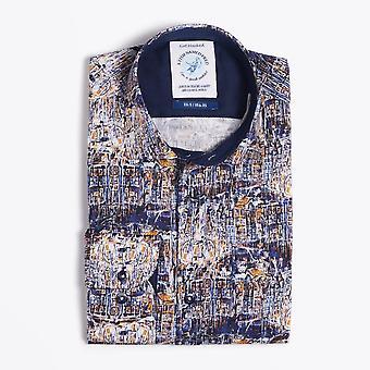 Ein Fisch namens Fred - abstrakte Print Shirt - blau
