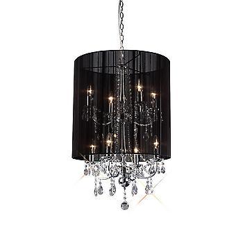 Inspireret Diyas - Ella - Loft vedhæng med sort skygge 8 lys poleret krom, Krystal