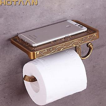 Antique Brass Toilet Paper, Mobile Holder - Bathroom Storage Rack