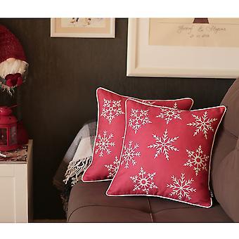 """Satz von 2 18 """" Weihnachten Schneeflocken werfen Kissenbezug in rot"""
