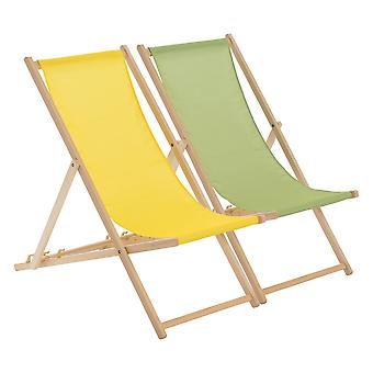 Traditional Adjustable Beach Garden Deck Chairs - Yellow / Lime Green