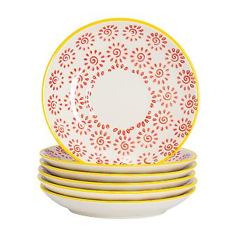 Nicola Spring Patterned Porcelain Saucers For Cappuccino Cups, 14cm - Red Print - Set of 6
