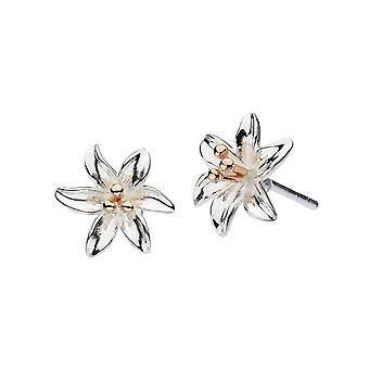 Dew sterling zilver Tiger Lily met Rose Gold Plate Stud Oorbellen 4083RG024