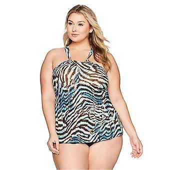 Marca - Coastal Blue Women's Plus Size Control Swimwear Tankini Top,...