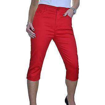 Womens Casual High Waist Straight Leg Stretch Chino Capri Cropped Trouser 14-24