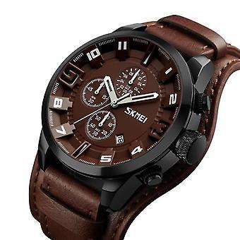 SKMEI 9165 Business Style Date Display Men Wrist Watch Leather Strap Quartz