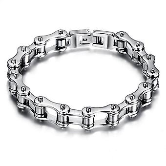 Bracelet de chaîne de moto en acier inoxydable argenté pour hommes
