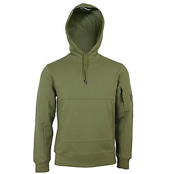 C.p. empresa masculina diagonal verde-oliva levantou moleto encapuzado fleece